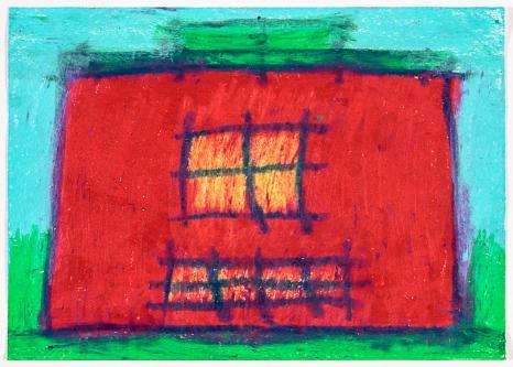 Rotes Haus auf Türkis